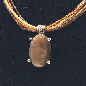 Premier Designs Necklace Brown Polished Stone
